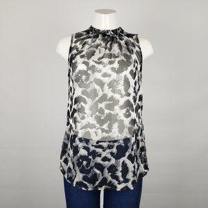 Esprit Black Animal Print Chiffon Top Size M